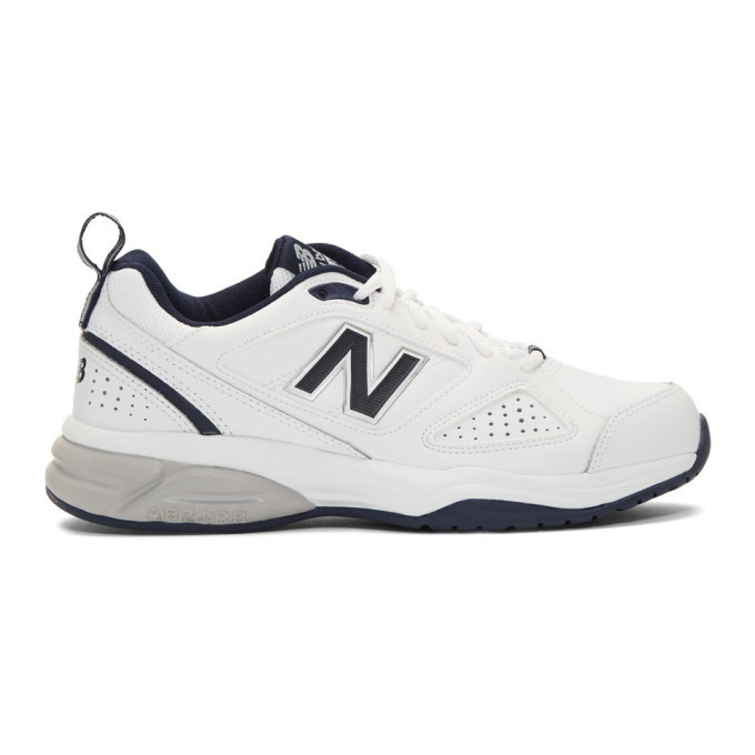 New Balance White and Navy 623v3 Sneakers