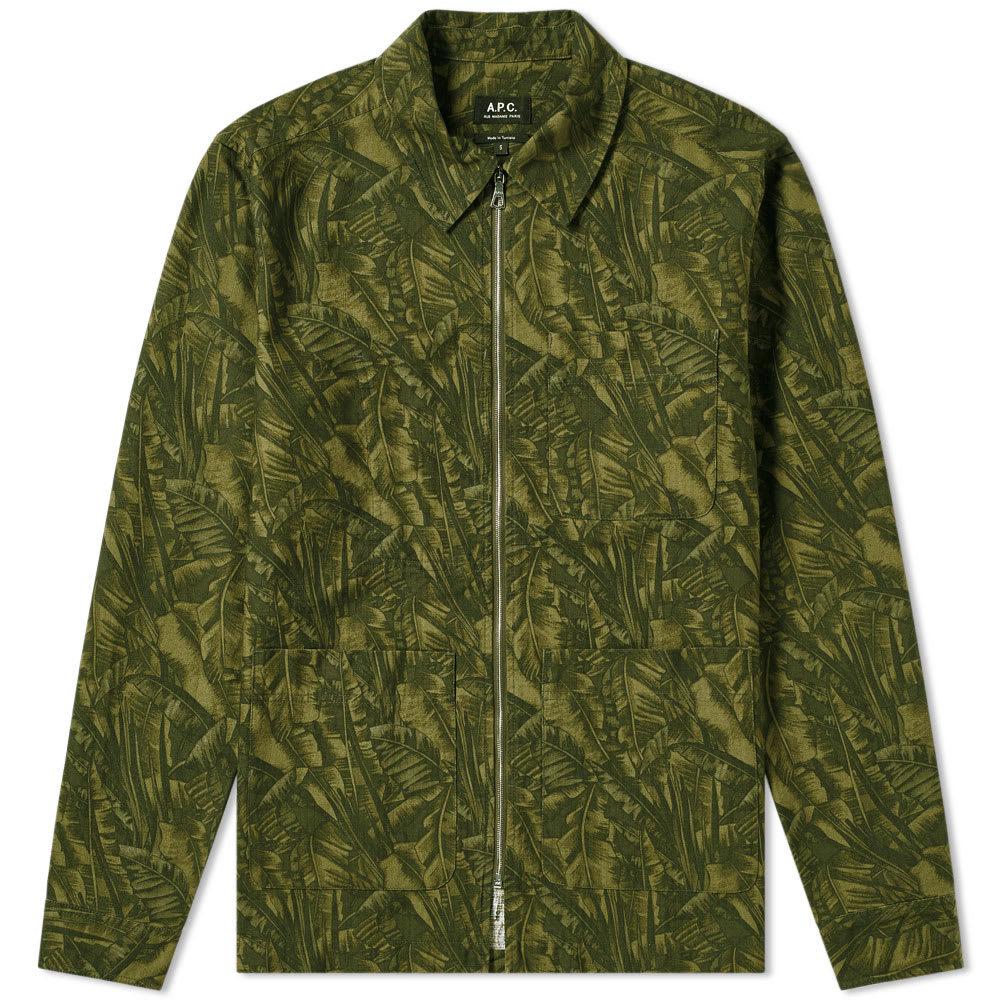 Photo: A.P.C. Jungle Print Zip Shirt Jacket Khaki