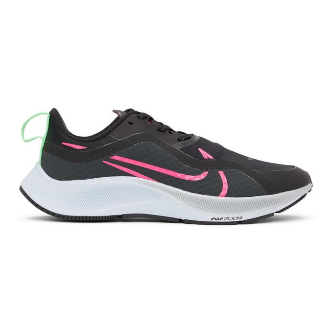 Photo: Nike Black and Pink Air Zoom Pegasus 37 Sneakers