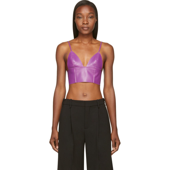 e69eb07a9d507 T by Alexander Wang Purple Lether Raw-Edged Triangle Bralette T by ...