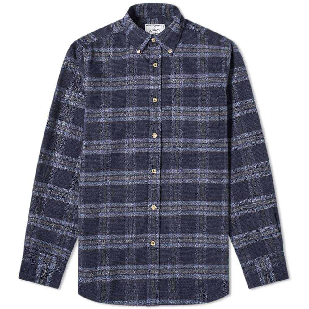 Photo: Portuguese Flannel Abstract Button Down Check Shirt