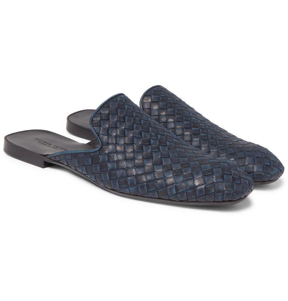 Photo: Bottega Veneta - Intrecciato Leather Backless Slippers - Men - Storm blue