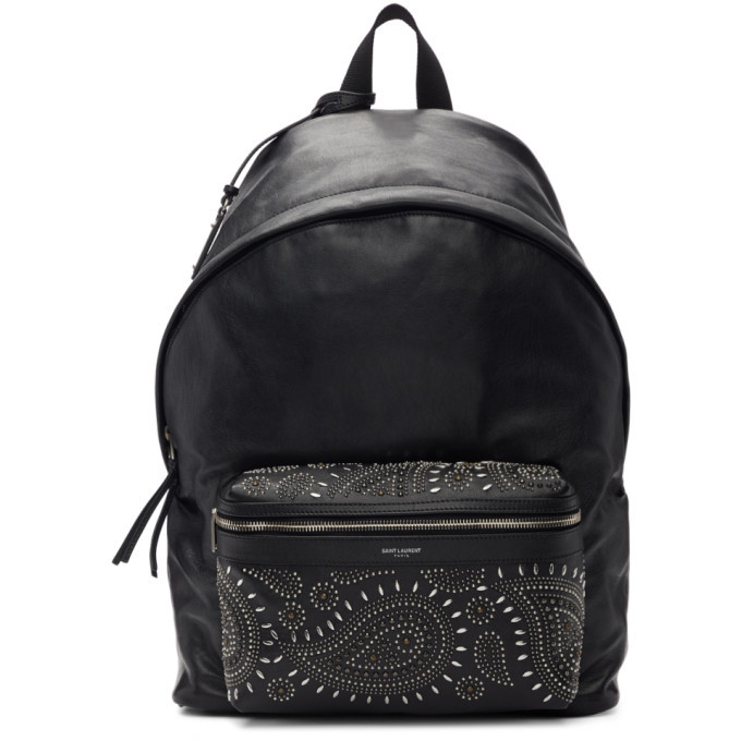 Photo: Saint Laurent Black Bandana Stud City Backpack