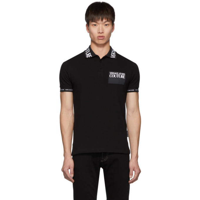 Versace Jeans Couture Black Logo Patch Polo