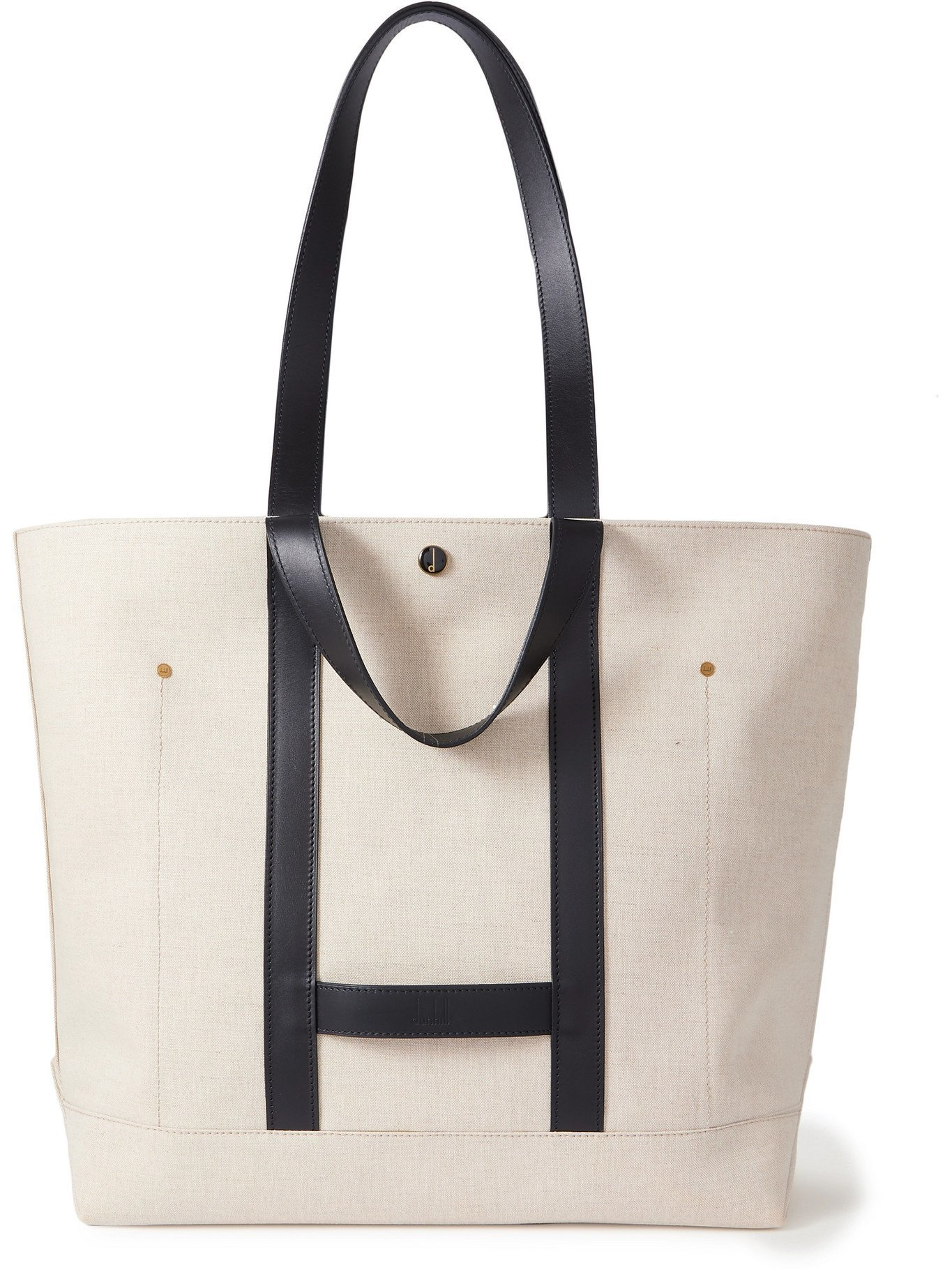 DUNHILL - Leather-Trimmed Linen and Cotton-Blend Tote Bag - Neutrals
