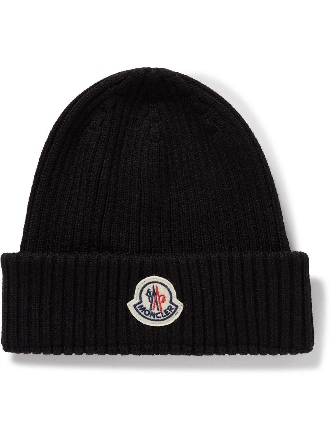 Photo: Moncler - Logo-Appliquéd Ribbed Virgin Wool Beanie