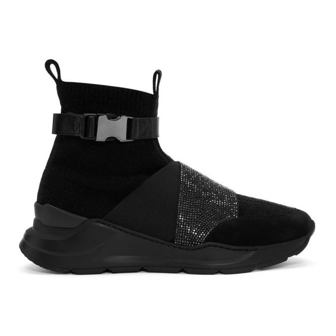 Photo: Balmain Black Faust Glitter High-Top Sneakers