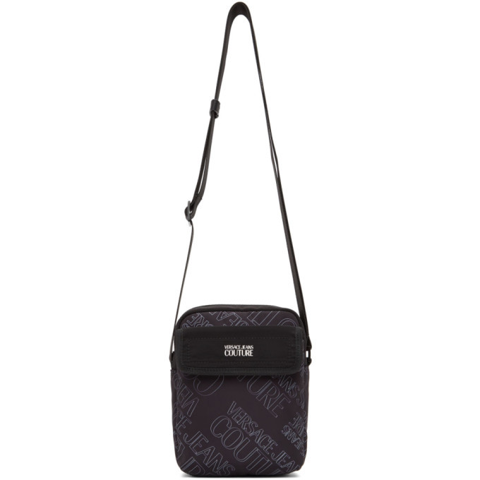 Photo: Versace Jeans Couture Black All Over Logo Messenger Bag