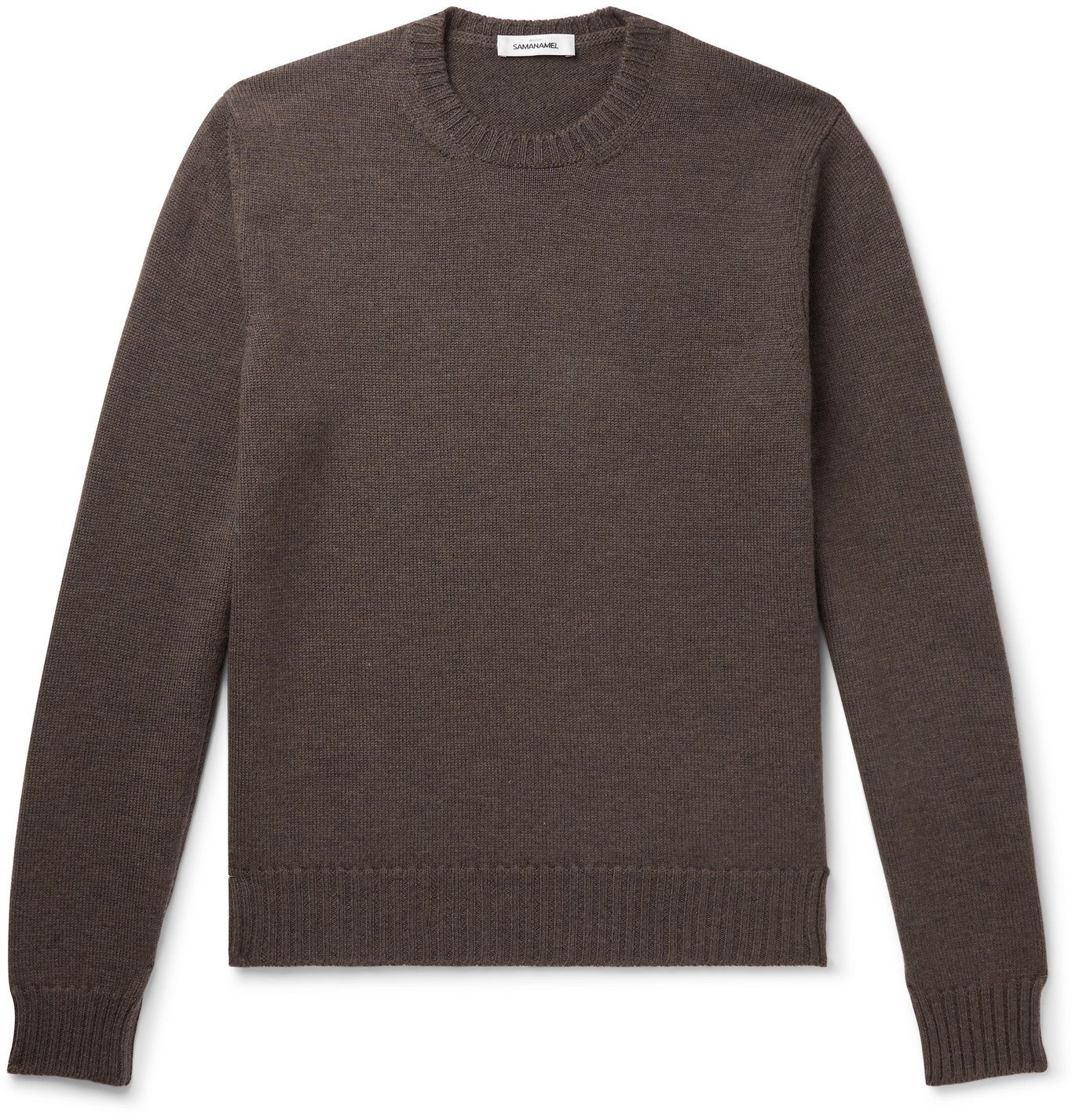 Photo: Saman Amel - Slim-Fit Merino Wool Sweater - Brown