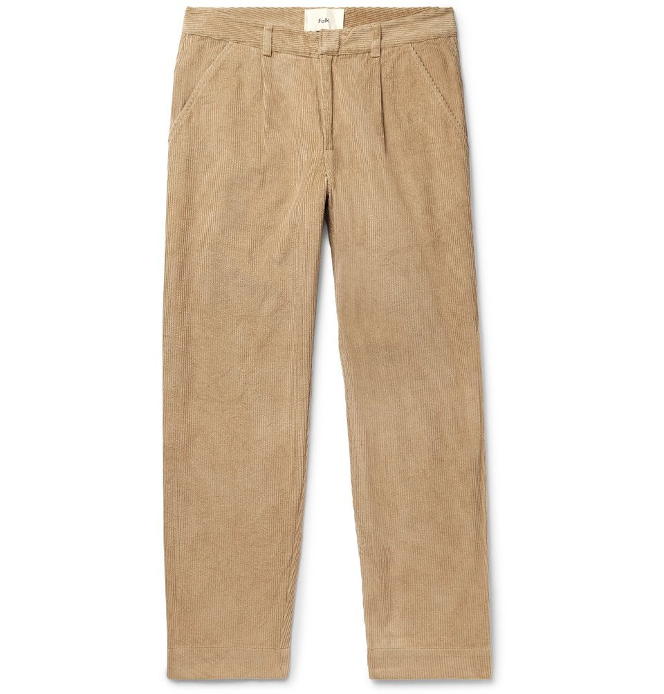 Photo: Folk - Signal Tapered Pleated Cotton-Corduroy Trousers - Beige