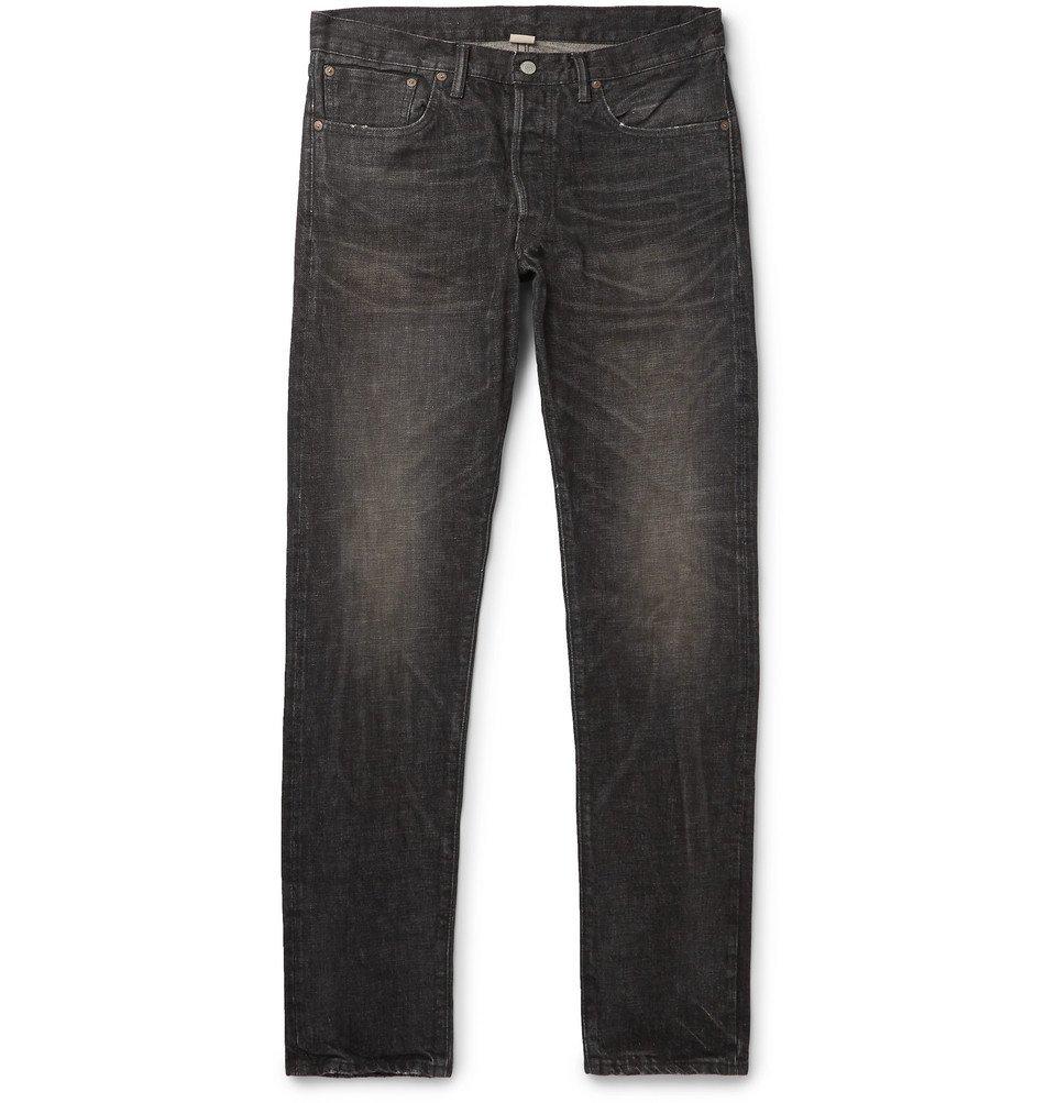 RRL - Slim-Fit Distressed Selvedge Denim Jeans - Black