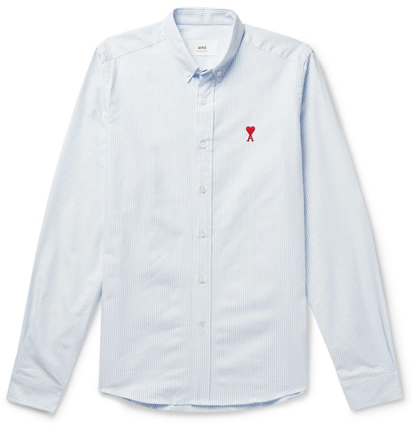 Photo: AMI PARIS - Button-Down Collar Logo-Appliquéd Striped Cotton Oxford Shirt - Blue