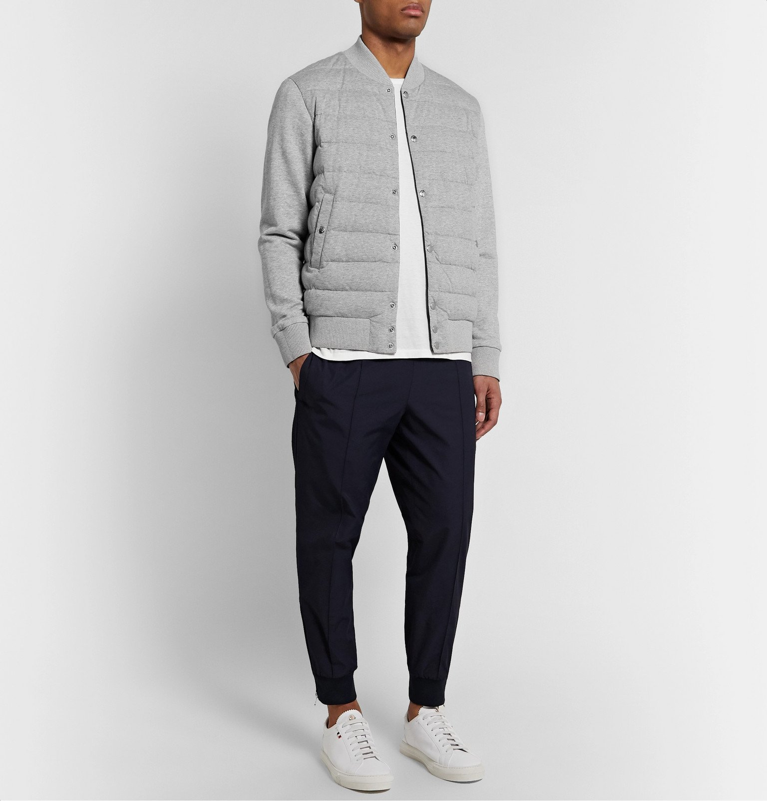Moncler - Reversible Mélange Cotton-Jersey and Shell Down Bomber Jacket - Blue