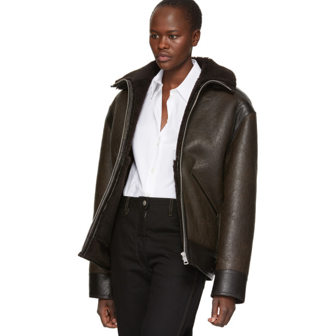 Lemaire Brown Shearling Flight Jacket