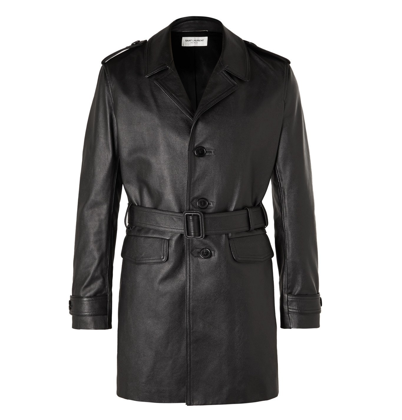 Photo: SAINT LAURENT - Frank Belted Leather Trench Coat - Black
