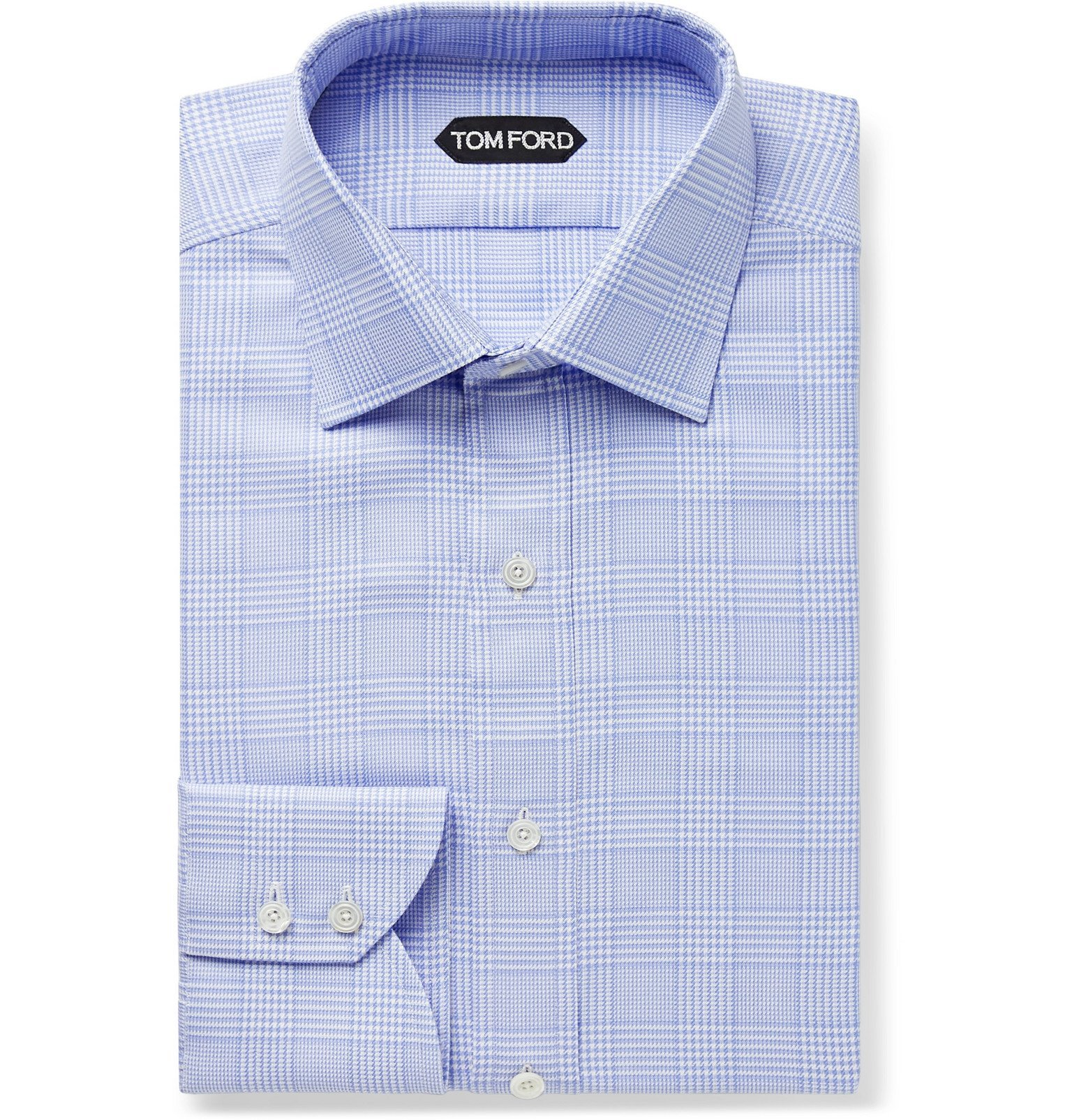 Photo: TOM FORD - Sky-Blue Slim-Fit Prince of Wales Checked Cotton Shirt - Blue