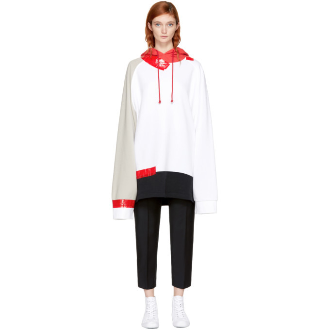 Raf Simons White and Beige Oversized Taped Hoodie