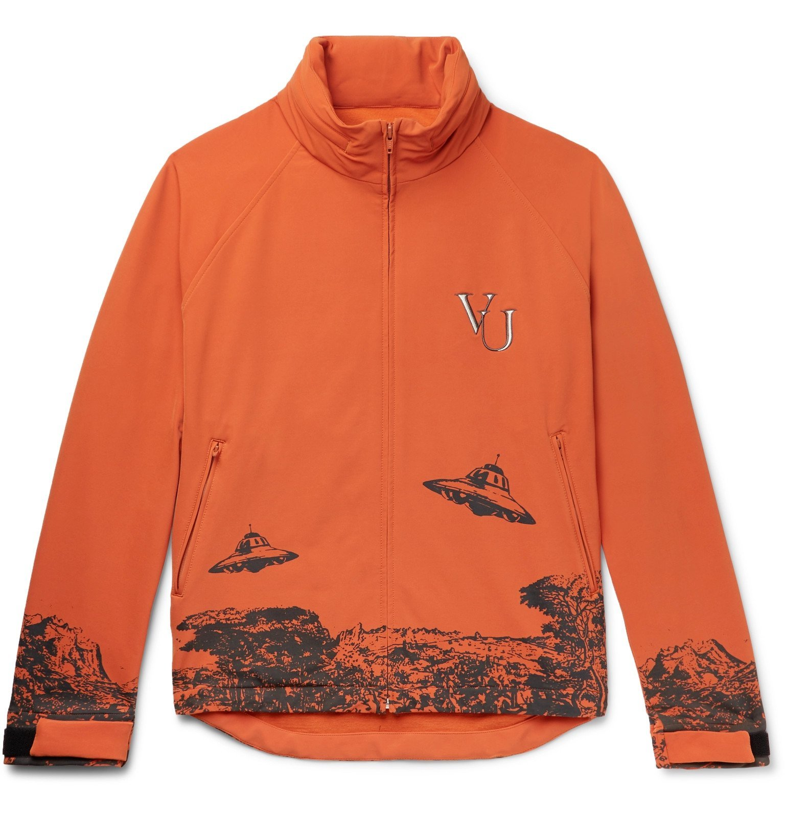 Photo: Undercover - Valentino Logo-Embroidered Printed Nylon-Blend Jacket - Orange