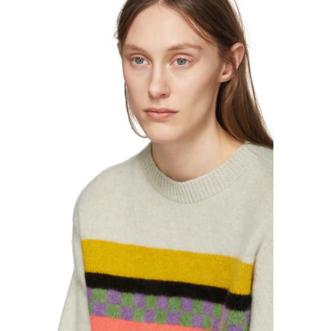 The Elder Statesman Beige Cashmere Gofa Stripe Sweater