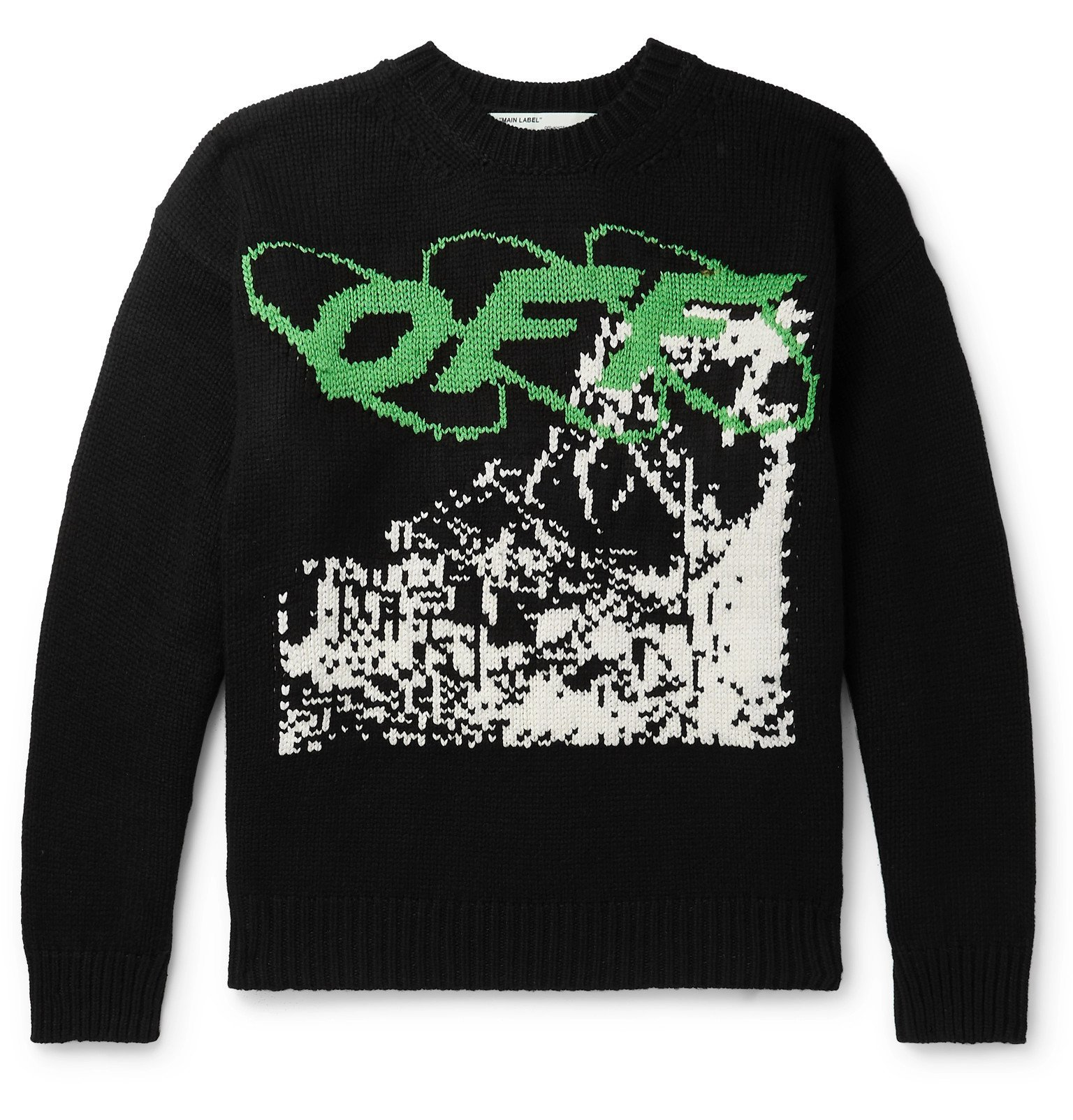 Photo: Off-White - Intarsia Wool-Blend Sweater - Black