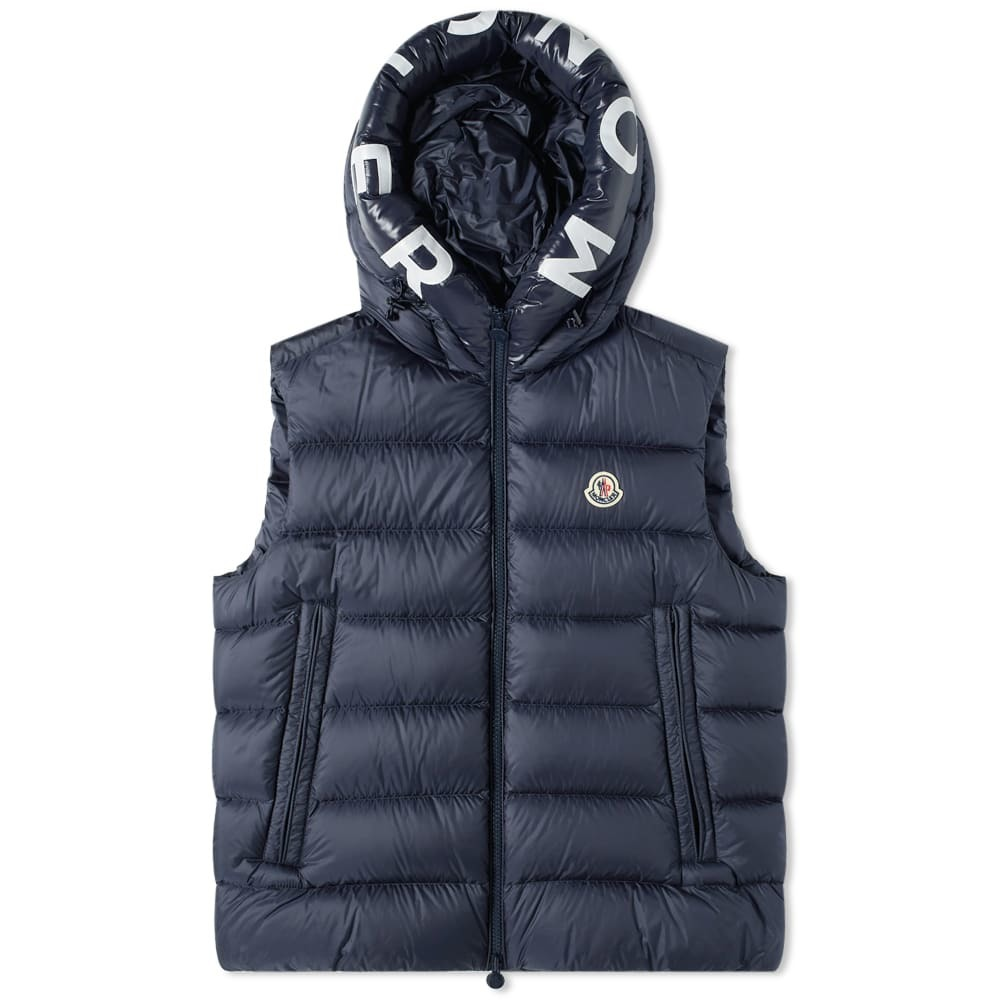 Photo: Moncler Montreuil Hooded Logo Down Gilet