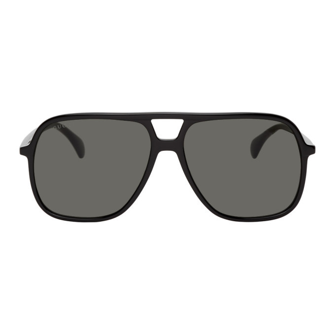Photo: Gucci Black Ultralight Pilot Sunglasses