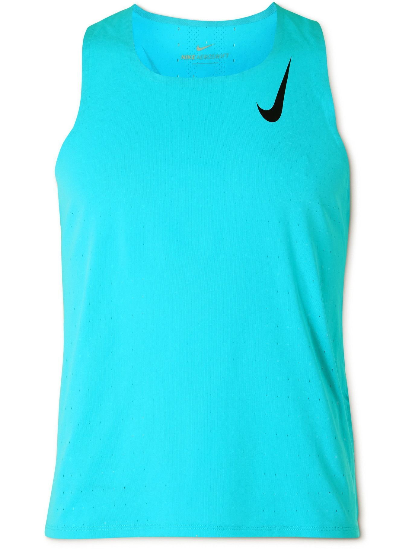 NIKE RUNNING - Logo-Print Perforated Recycled AeroSwift Tank Top - Blue