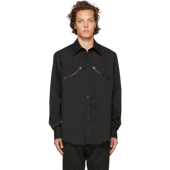 Photo: Dsquared2 Black Wool Chic Military Shirt