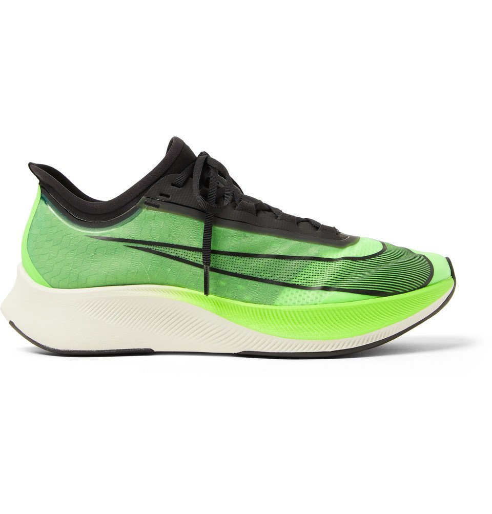 Photo: Nike Running - Zoom Fly 3 Logo-Print Vaporweave Running Sneakers - Green