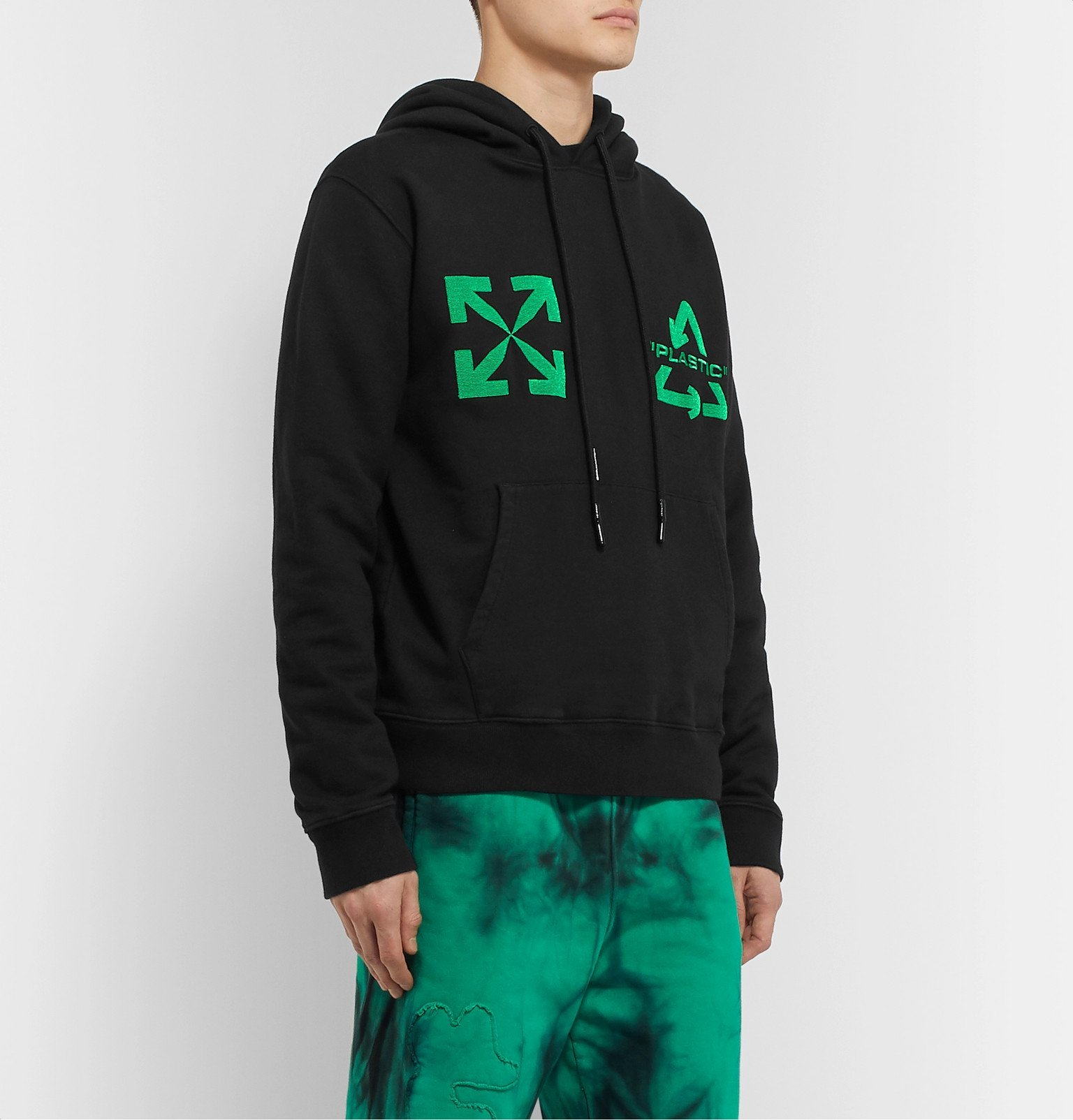 Off-White - Logo-Embroidered Loopback Cotton-Jersey Hoodie - Black