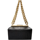 Stella McCartney Black Croc Medium Chunky Chain Bag