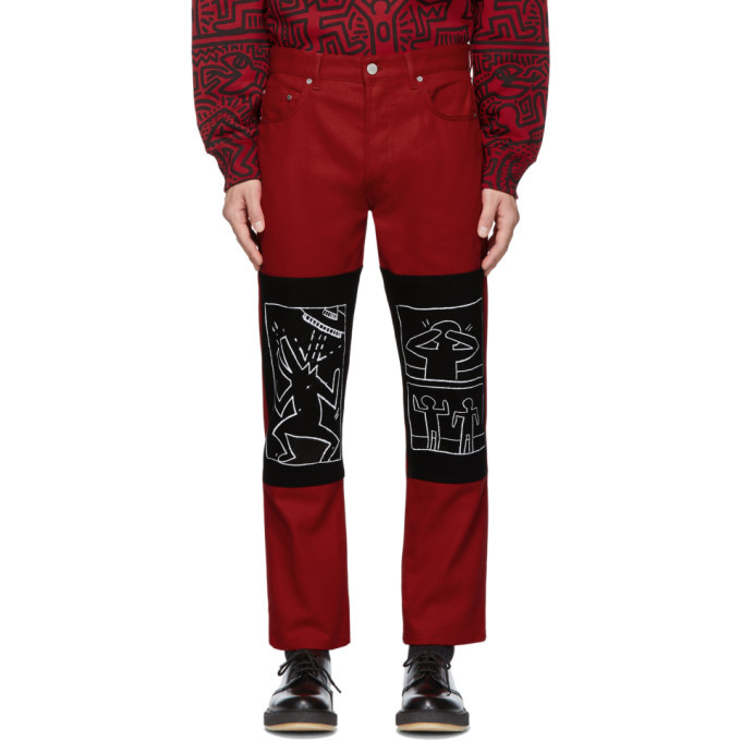 Photo: Etudes Red Keith Haring x MTA Edition Corner Canvas Trousers