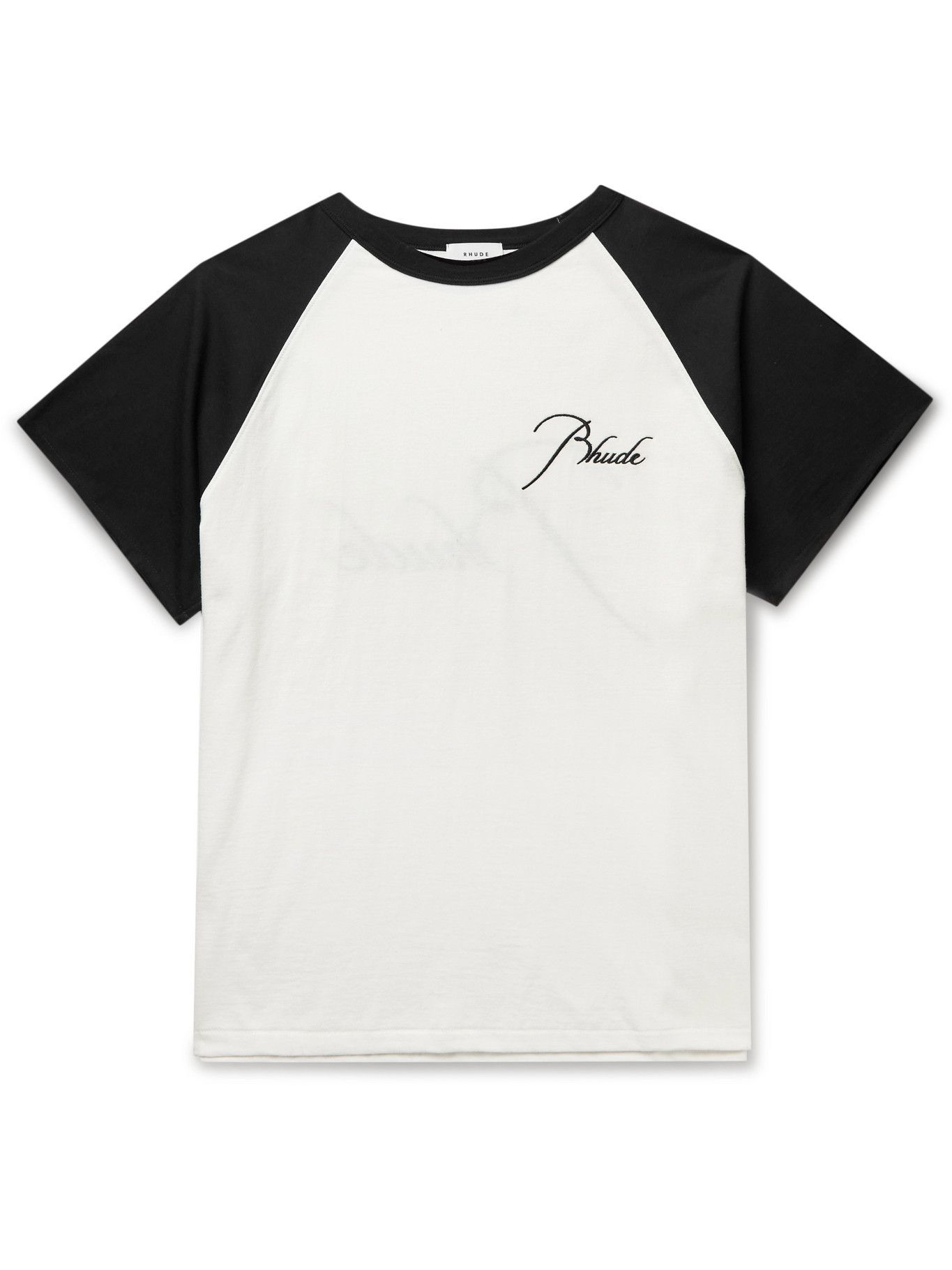 Photo: Rhude - Logo-Embroidered Cotton-Jersey T-Shirt - White
