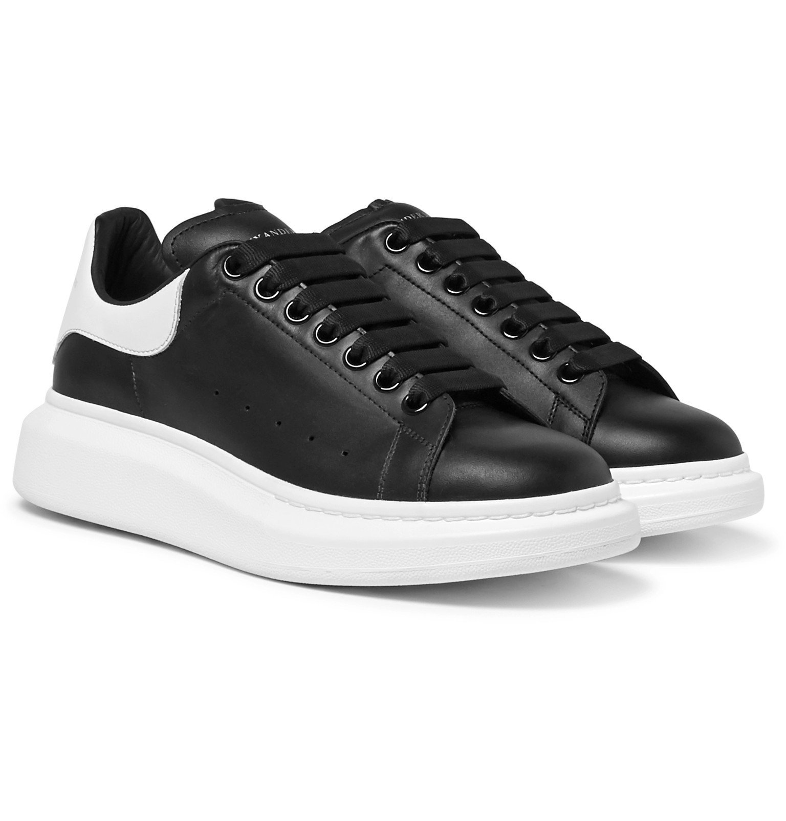 Photo: Alexander McQueen - Exaggerated-Sole Leather Sneakers - Black