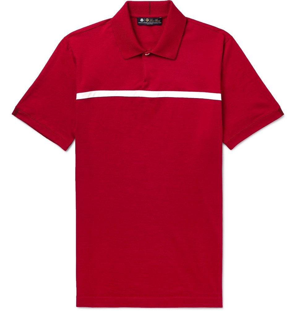 Photo: Loro Piana - 28Matches Striped Jersey Golf Polo Shirt - Red