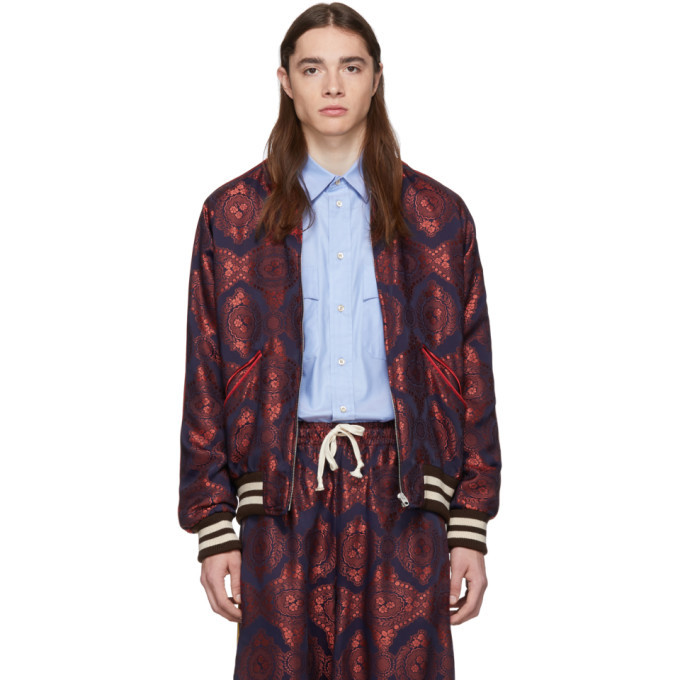 Photo: Gucci Red and Navy Baroque Jacquard Bomber Jacket