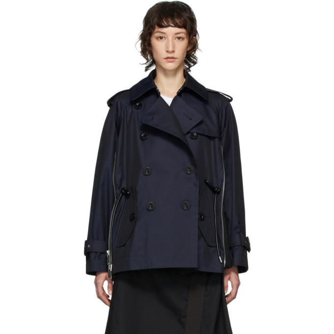 Sacai Navy Cotton Bell Shape Trench Coat