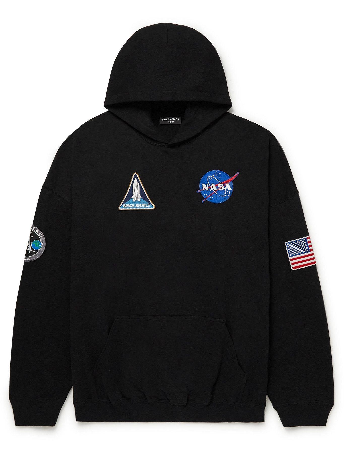 Photo: Balenciaga - NASA Appliquéd Logo-Print Cotton-Jersey Hoodie - Black