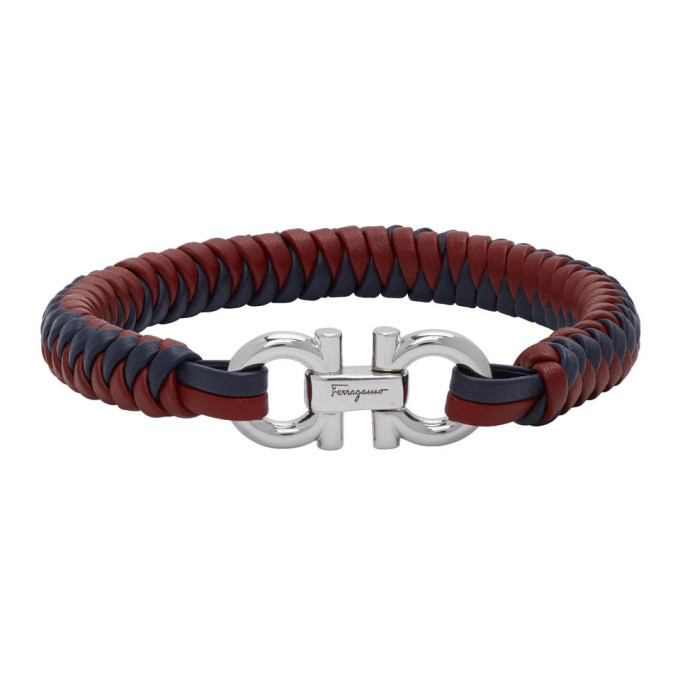 Photo: Salvatore Ferragamo Red and Blue Braided Leather Bracelet