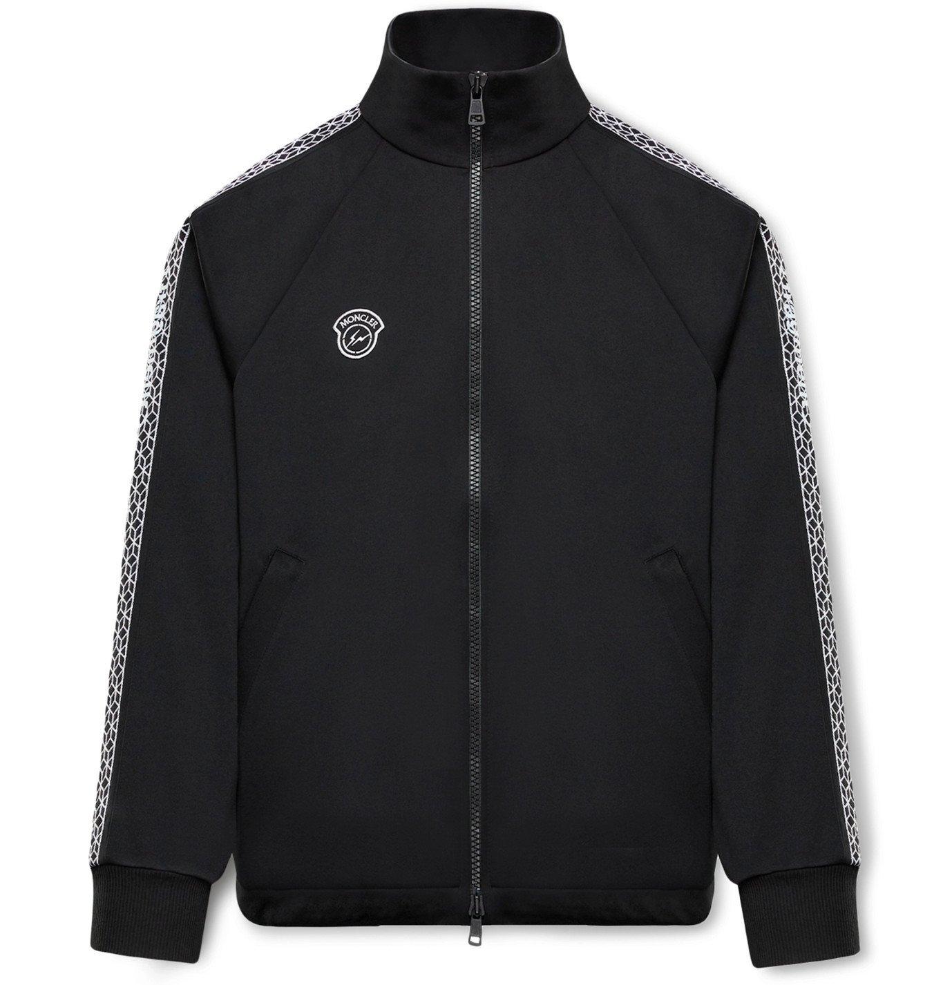 Photo: Moncler Genius - 7 Moncler Fragment Logo-Appliquéd Webbing-Trimmed Jersey Track Jacket - Black