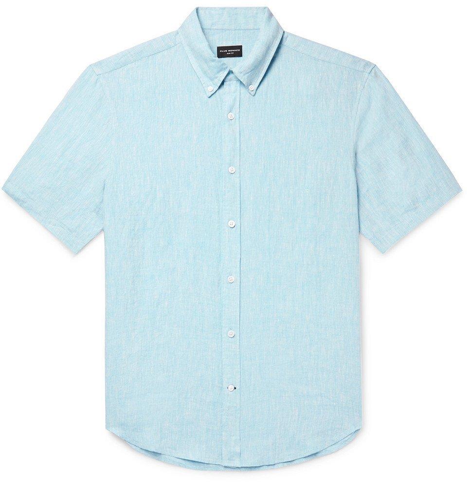 Photo: Club Monaco - Slim-Fit Button-Down Collar Slub Linen-Chambray Shirt - Light blue