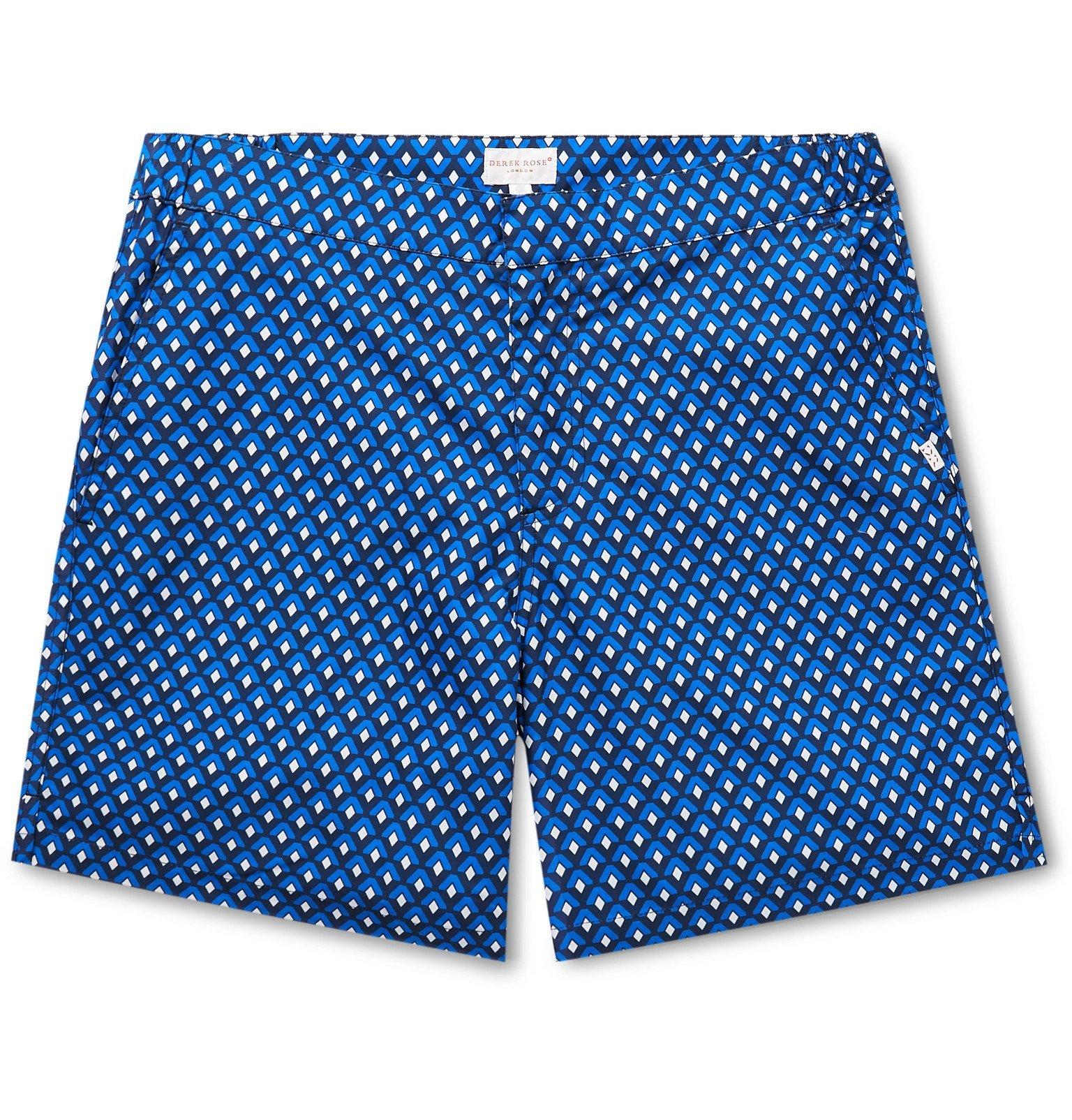 Photo: Derek Rose - Tropez Mid-Length Printed Swim Shorts - Blue