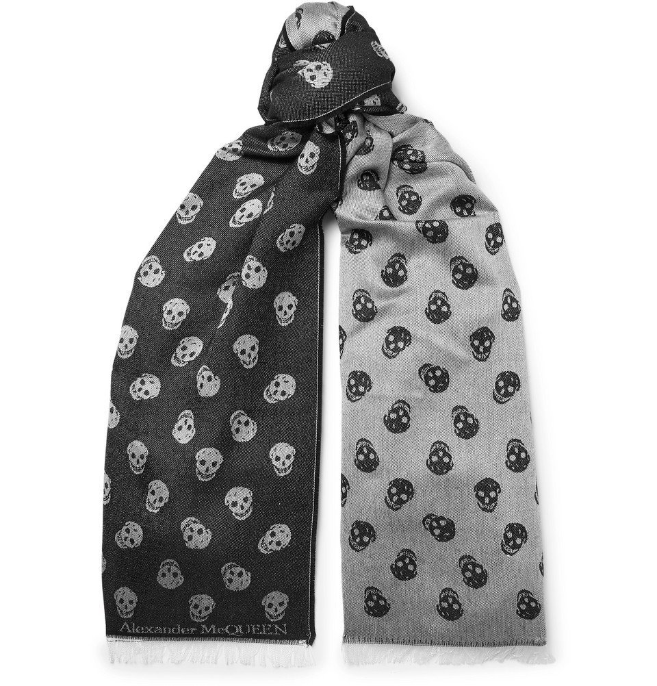 Photo: Alexander McQueen - Reversible Printed Wool and Silk-Blend Scarf - Gray