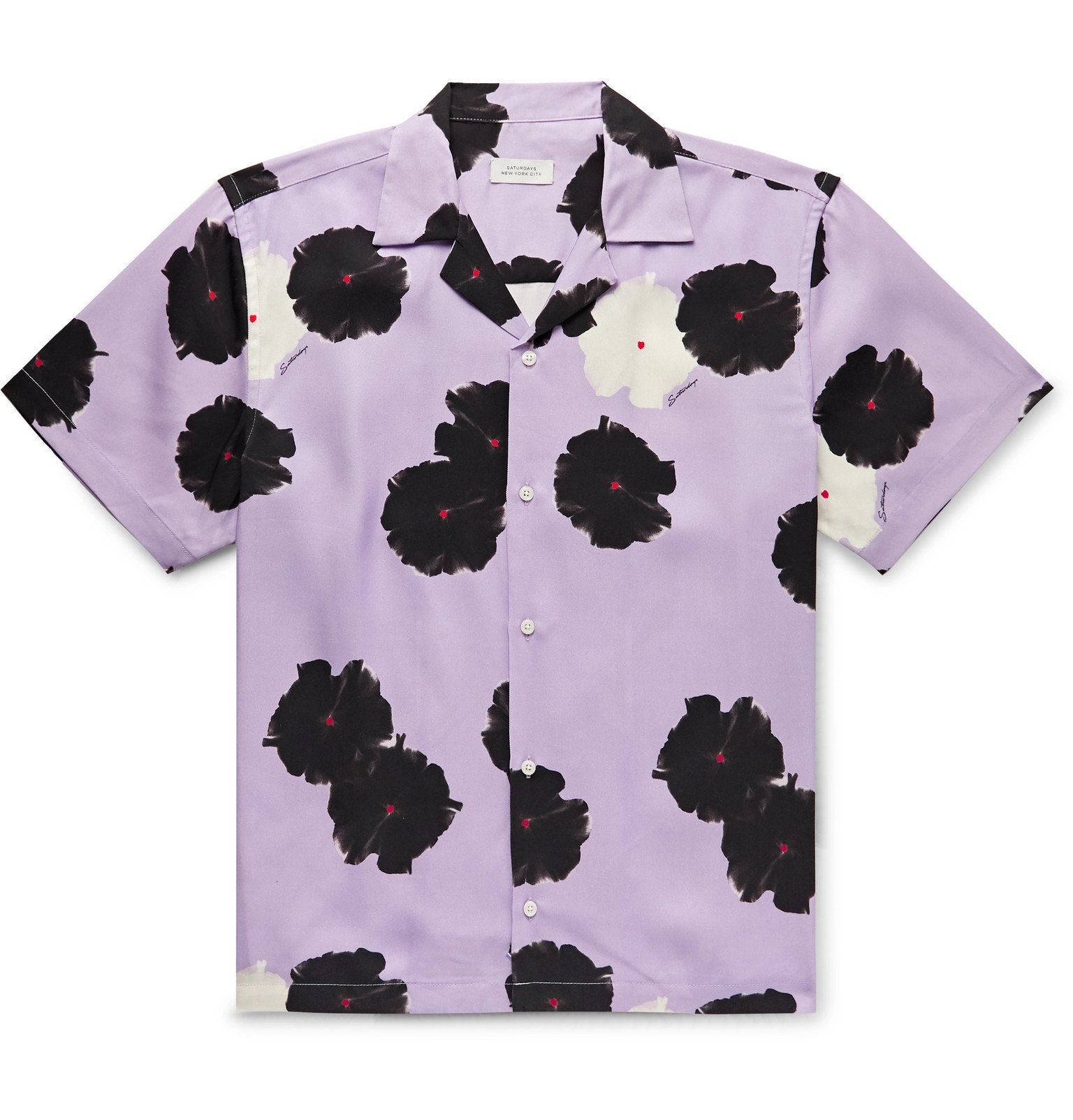 Photo: Saturdays NYC - Canty Camp-Collar Printed Lyocell Shirt - Purple