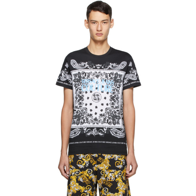 Photo: Versace Jeans Couture Black and White Paisley Loop T-Shirt