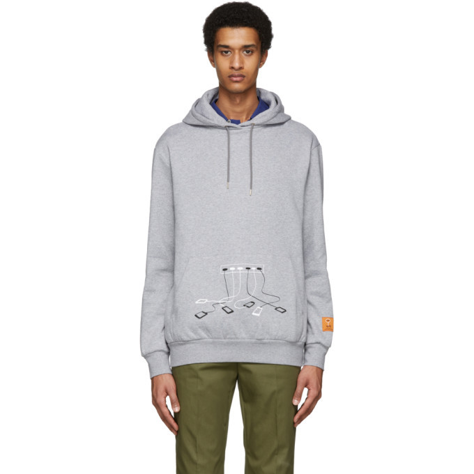 Photo: Paul Smith and Christoph Niemann Grey Phone Charger Print Hoodie