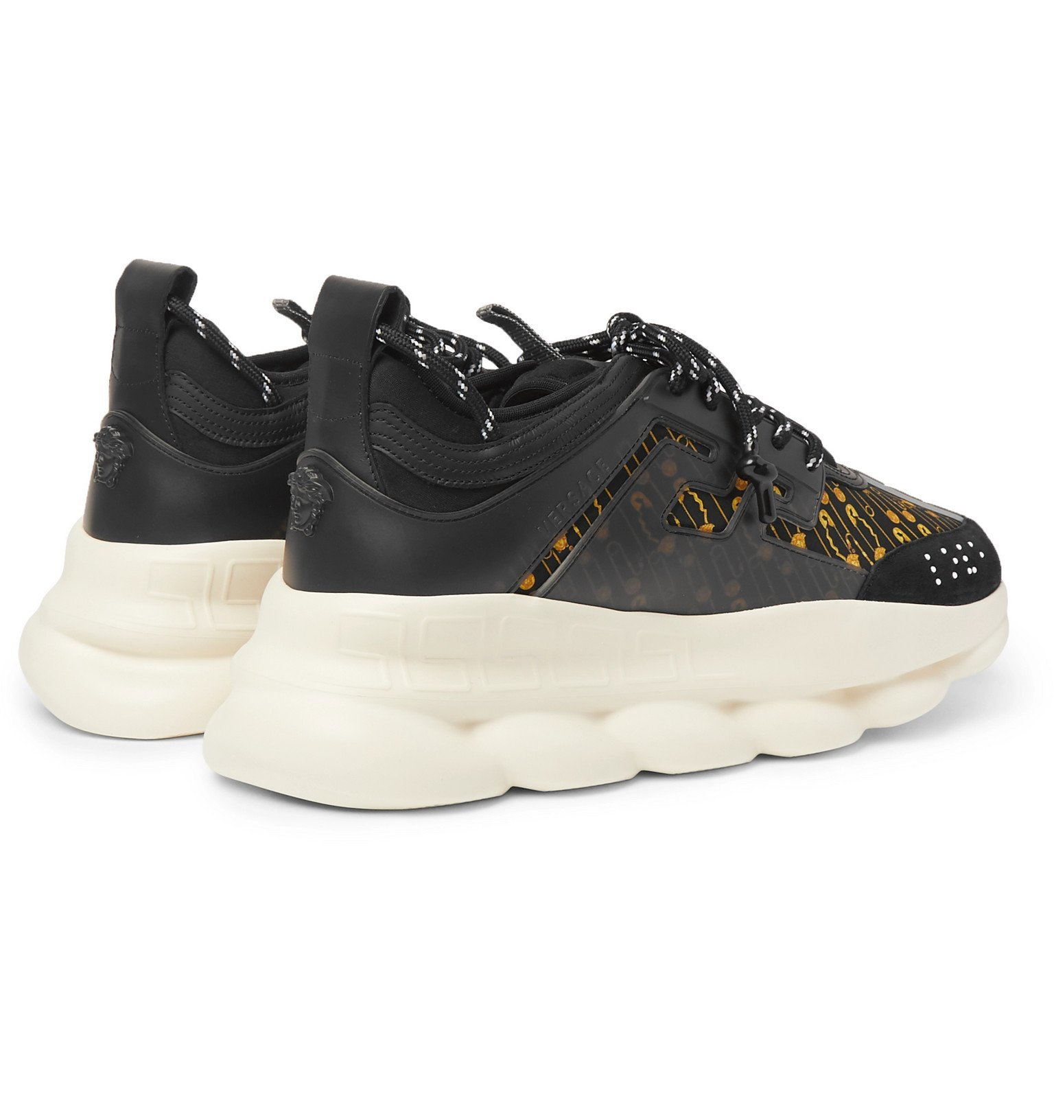 Versace - Chain Reaction Panelled Shell, Rubber and Suede Sneakers - Black