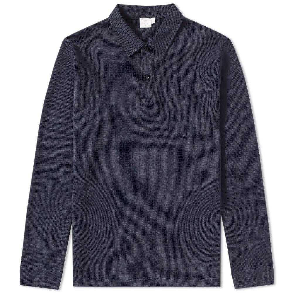 Sunspel Long Sleeve Riviera Polo Blue