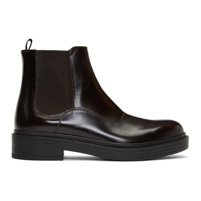 Photo: Giorgio Armani Brown Leather Chelsea Boots