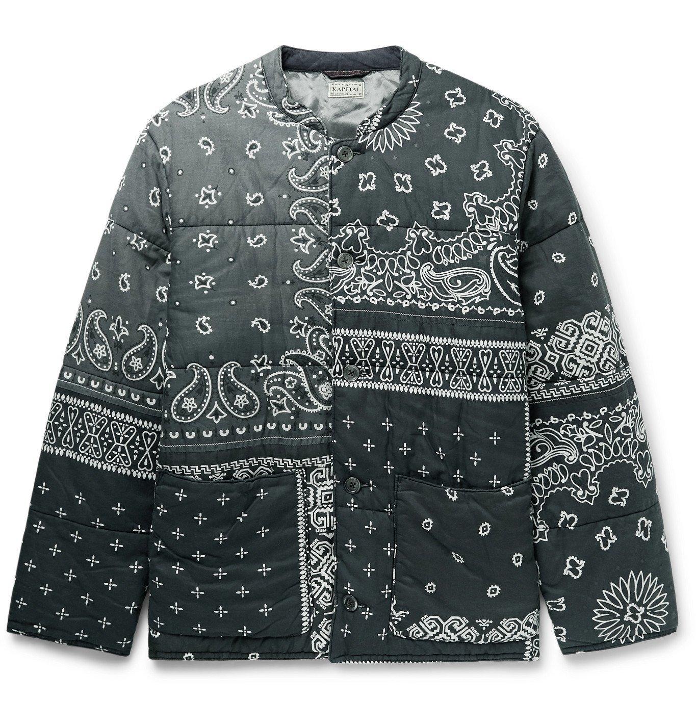 KAPITAL - Quilted Patchwork Bandana-Print Padded Cotton Jacket - Gray